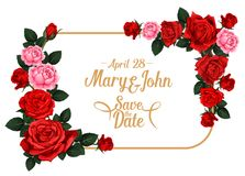Save the Date wedding invitation card template. With rose flower frame. Blooming rose flower and floral bud border with red or pink blossom, green leaf and copy Stock Image