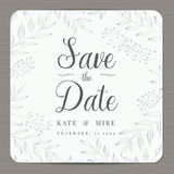 Save the date, wedding invitation card template with silver color flower floral background. Royalty Free Stock Photo