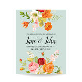 Save the Date Wedding Invitation Card with Watercolor Lily Flowers. Baby Shower Decoration stock illustration