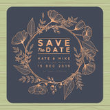 Save the date, wedding invitation card with wreath flower template. Flower floral background.