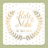 Save the date, wedding invitation card with wreath flower template in shiny golden color and polka dots background. vector illustration