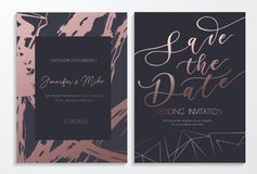 Save the date wedding invitation cards on dark and rose gold tex. Tured background with lettering and geometric lines. Elegant design template for wedding royalty free illustration