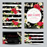 Save the Date Wedding Invitation or Congratulation Card Set royalty free illustration