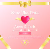 Save the date. Wedding invitation. On pink background Royalty Free Stock Photography