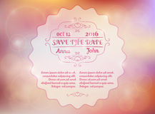 Save the date. Wedding invitation. On pink  bokeh background Royalty Free Stock Photo