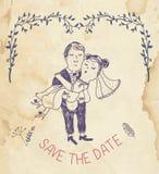 Save the date wedding invitation - retro style Stock Image