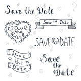 Save the date. Wedding invitation. Romantic set with hand drawn Royalty Free Stock Photography