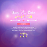 Save the date. Wedding invitation. On soft purple background Royalty Free Stock Photos