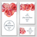 Save the date or wedding invitation template with roses. Royalty Free Stock Photography