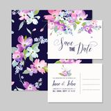 Save the Date Wedding Invitation Template with Spring Dogwood Flowers. Romantic Floral Greeting Card for Celebration. Watercolor Botanical Design. Vector Stock Photography