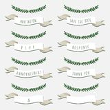Wedding card description set with branches. Save the date and wedding invitation and thank you and announcement and rsvp card hand drawn description set with Royalty Free Stock Photography