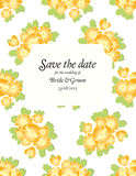 Save the date wedding invite card template with golden flowers Royalty Free Stock Photo