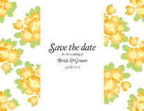 Save the date wedding invite card template with golden flowers Royalty Free Stock Images