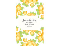 Save the date wedding invite card template with golden flowers Stock Images