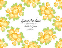 Save the date wedding invite card template with golden flowers Stock Image