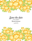 Save the date wedding invite card template with golden flowers Royalty Free Stock Image