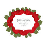 Save the date wedding invite card template with red flowers Royalty Free Stock Photography