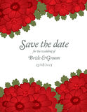Save the date wedding invite card template with red flowers. Vector illustration Stock Photography