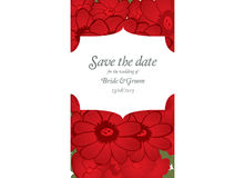 Save the date wedding invite card template with red flowers Stock Image