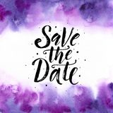 Save the date. Wedding phrase Brush Lettering on Violet purple trend watercolor abstract background. Hand painted banner. Save the date. Wedding phrase. Brush stock illustration