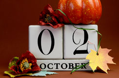 Save the Date white block calendar for October 2nd Royalty Free Stock Images