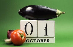 Save the date white block calendar for October 1, World Vegetarian Day Royalty Free Stock Photo