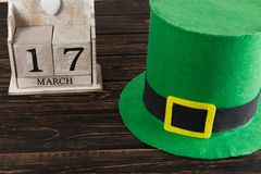 Save the date white block calendar for St Patrick`s Day, stock image