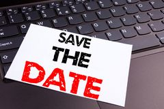 Save The Date writing text made in the office close-up on laptop computer keyboard. Business concept for Special Day and Greeting royalty free stock photography