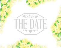 Save the date yellow flowers border sign Royalty Free Stock Image
