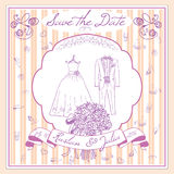 Save the datecard template with Hand drawn wedding elements. flowers bride dress and tuxedo suit, glasses for champaign and festiv. E attributes. Drawing doodle Royalty Free Stock Image