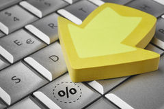 Save discount percentage icon on a keyboard. E-commerce Royalty Free Stock Image