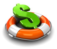 Save dollar. 3d illustration  of rescue circle with dollar sign inside Stock Photo