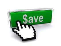 Save dollars button and cursor Royalty Free Stock Photography