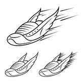 Save Download Preview Running winged shoe icons, sports shoe with motion trails Royalty Free Stock Images