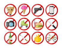 Save Download Preview Vector prohibitory signs icons set Royalty Free Stock Image