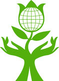 Save the Earth. Nature saving concept vector logo Royalty Free Stock Image