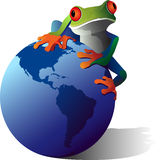 Save the Earth. A conceptual illustration of a Red-Eyed Tree frog on the planet earth. Wildlife Conservation concept Stock Photo