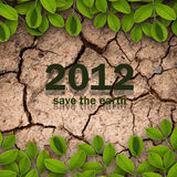 Save the earth. 2012 on dry soil and creepers for ecology concept vector illustration