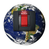 Save the Earth. Planet earth with a button for panic alert Stock Images