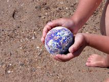 Save the Earth. Computer generated Earth protected by child hands. Concept suitable for environment protection themes. Hands and planet sharp, rest is thrown out Stock Photography