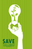 Save the earth. Over green background vector illustration Stock Images