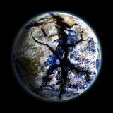 Save Earth. A cracked Earth globe with blue atmosphere Vector Illustration