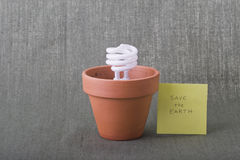 Save the Earth. Ecofriendly compact fluorescent bulb in clay pot with copy space as environmental concept. Studio shot. Can be isolated or cut-out royalty free stock photography