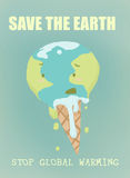 Save the earth. Funny ilustration of the global warming: a thawing earth-ice cream with writings. Digital illustration Royalty Free Stock Photography