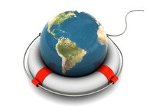 Save the earth. 3d illustration of earth globe in rescue circle Stock Photography