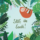 Save the Earth card with tropical forest, nature and anima. L.  graphic illustration Royalty Free Stock Image