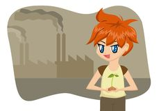 Save the Earth Cartoon Boy Royalty Free Stock Photo