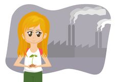 Save the Earth Cartoon Girl Stock Photos