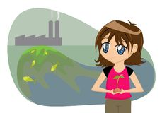 Save the Earth Cartoon Girl Royalty Free Stock Photo