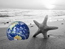 Save the Earth, Computer generated Earth like planet on a beach. Wave crushing in the background. Concept suitable for environment stock illustration